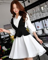 Dabuwawa Spring Vintage Elegant Long Sleeves Spicling Two Piece Dress Sets for Office Lady Woman School Girls D17CSA029