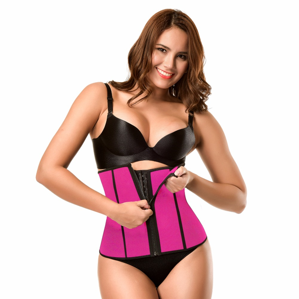 Yumdo 2018 Nude Pink Sauna Waist Trainer Neoprene Zip Hook Closure Body Shapers For Weight Loss Tummy Control Girdles