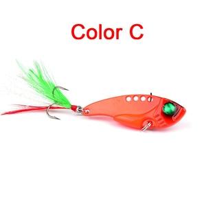 Image 4 - 1pcs Metal VIB 11G/5.5CM Fishing Lure Vibration Spoon Lure Crankbait Bass  Artificial Hard Baits with Feather Cicada VIB tackle