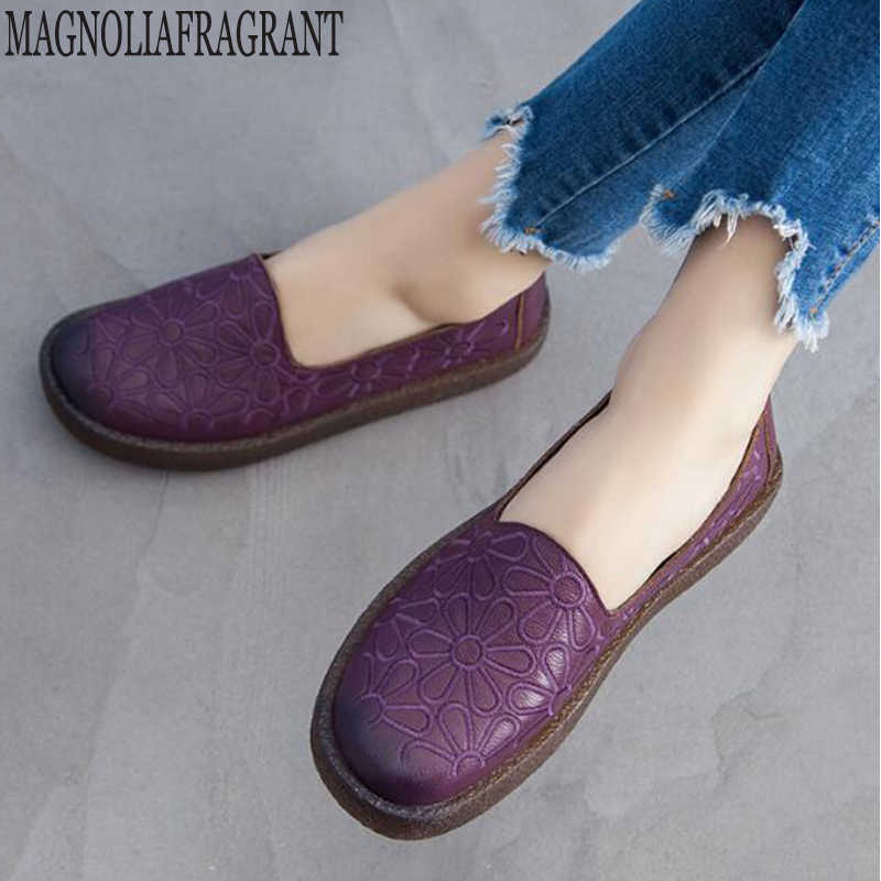 2019 Genuine Leather Summer Loafers Women Casual Shoes Moccasins Soft  Ladies Footwear platform Women Flats Shoes Female hy14
