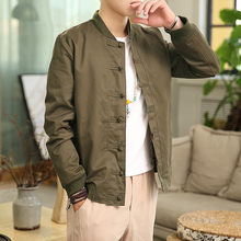 2019 New Spring Bomber Jacket ArmyGreen Chinese Style Men Jackets Cotton Casual Shirt Coats Traditional Clothes chaqueta hombre