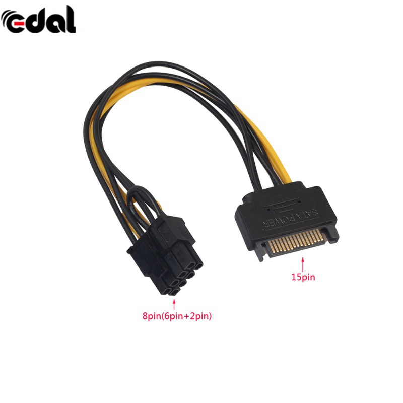 EDAL 20cm PCI-E SATA Power Supply Cable 15-pin to 8 pin cable SATA 15pin to 8pin(6+2) Powr Adapter Cable 20pcs high quality 15pin sata to 8pin 6 2 pci e pci express power supply cable 20cm 15 pin 8 pin cable