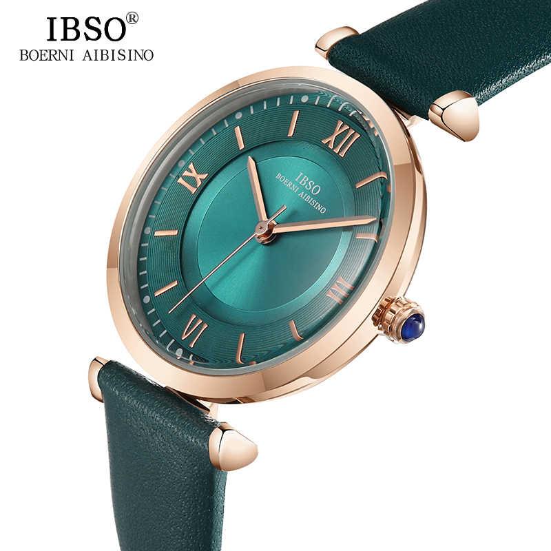 IBSO Neue Marke Frauen Uhren 2020 Grün Echtes Lederband Reloj Mujer Luxus Quarz Damen Uhr Frauen Montre Femme