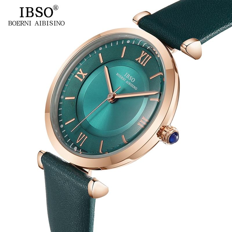 IBSO New Brand Women Watches 2019 Green Genuine Leather Strap Reloj Mujer Luxury Quartz Ladies Watch Women Montre Femme
