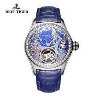 2018 Reef Tiger Brand Womens Luxury Fashion Watches Diamonds Automatic Tourbillon Genuine Leather Strap Watch Relogio Feminino