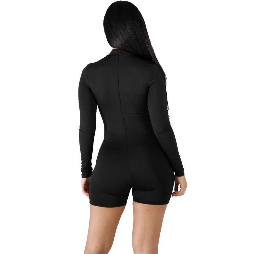 Women Playsuit Black Letter Print Sheath Jumpsuit Sexy Bodycon Club Outfit Woman Slim Bodysuit Body Femme Long Sleeve Turtleneck in Rompers from Women 39 s Clothing