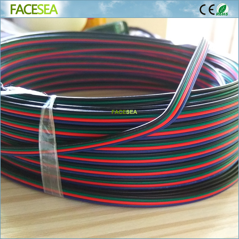Free DHL 100M 4 Pin cable Extension RGB Wire Connector Cable Blue/Red/Green/Black 4 Colors 22AWG For 3528 5050 RGB LED Strip dhl free 100