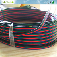 Free DHL 100M 4 Pin Cable Extension RGB Wire Connector Cable Blue Red Green Black 4