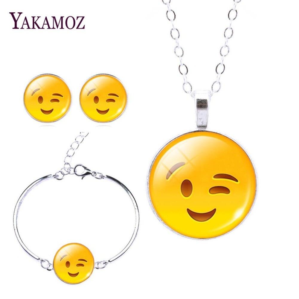 2017 Fashion Women Emoji Jewelry sets Stud Earrings & Moon Pendant Choker Necklace & Charm Cuff Bracelet BangleJewelry Sets