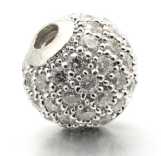 6 мм/8 мм/10 мм лучшее качество латунные кубические циркониевые круглые разделительные бусины для ювелирных изделий DIY, смешанные цвета, Модель: VZ4/5/6 - Цвет: Rhodium