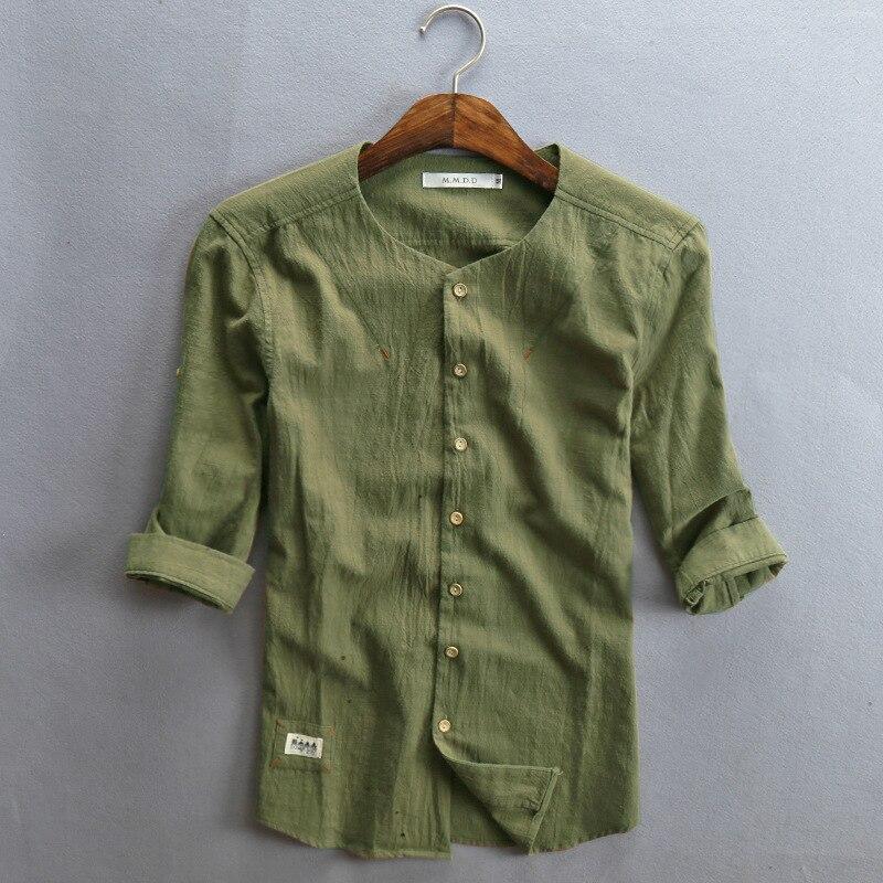 f83e95ba89 Hombres calientes de la venta de camisa de lino de algodón de manga tres  cuartos sólido ocasional camisa cuello mao Classiacl sencilla camisa de  verano para ...