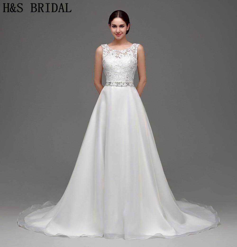 A line Organza Lace wedding dress Chapel Train vestido de noiva Bridal Gown Straps Beaded Sexy