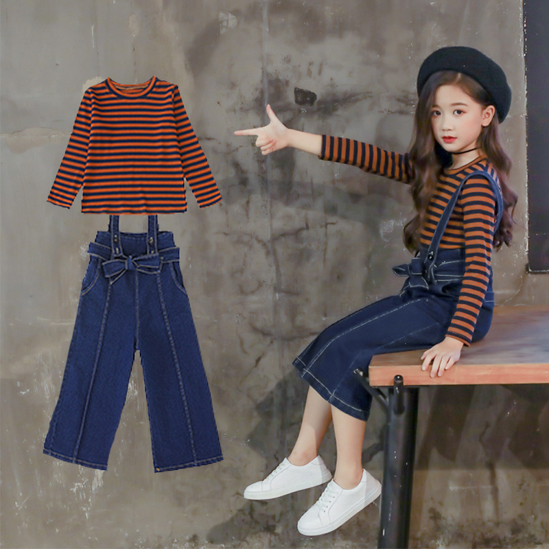 2018 Autumn Kids Clothes Set Toddler Girls Clothing Sets Teenage 2pcs Sports Suit Striped T-shirts + Wide Leg Pants Jumpsuits 12 striped self tie wide leg pants