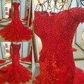 LS45980 vermelho vestido de noite querida tulle ata acima para trás fora do ombro de luxo sexy sereia beading vestido formal real fotos
