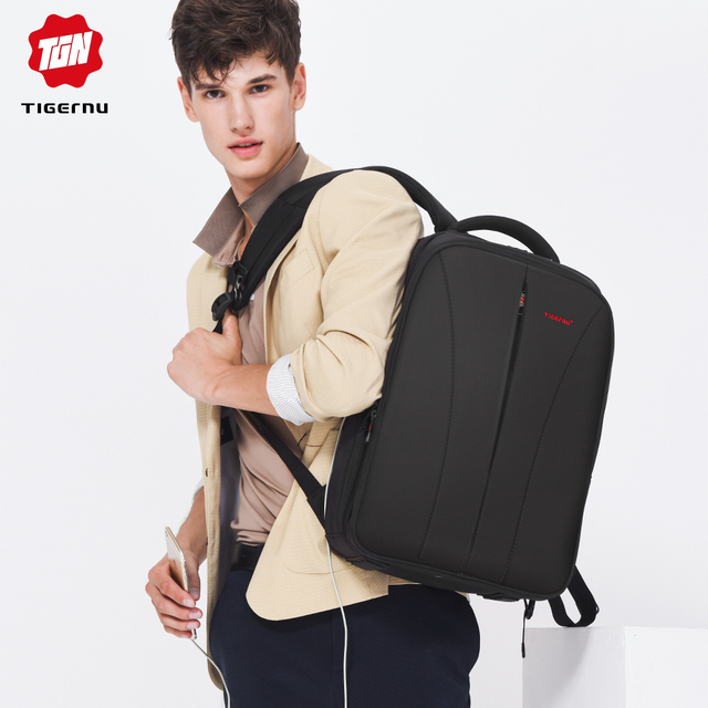 Tigernu Water Repellent Nylon Men Anti theft 15.6inch Laptop Backpacks Business USB Charger Computer Schoolbag Backpack for Boys 5