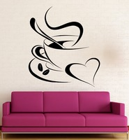 Coffee Vinyl Decal Romantic Coffee Shop Kitchen Cafe Wall Stickers