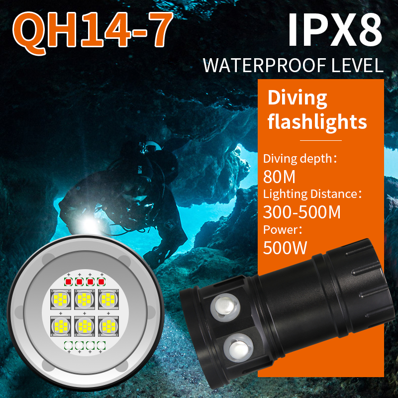 Tinhofire QH14-7 Diving Underwater IPX8 80M 6xWhite XML2/4xBlue R5/4xRed R5 500W Photography Video LED Scuba Photo Fill light