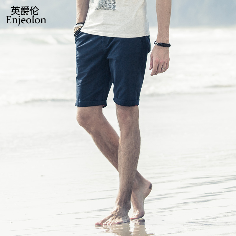 Enjeolon Summer Shorts 2019 Casual Solid Shorts Men Cotton Knee Length Beach Shorts Homme High Quality New Arrival K6039