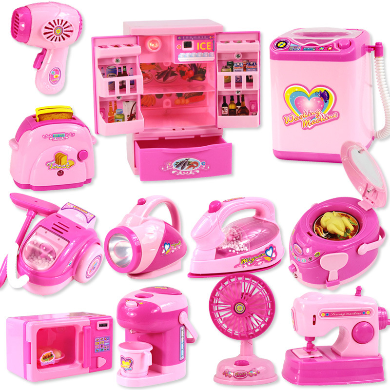 Children's Mini Educational Kitchen Toys Pink Household Appliances Children Play Kitchen For Kids Girls Gift Toy Dropshipping