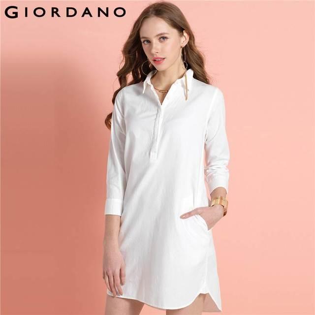 72b70b8e7fa80 Giordano Femmes Chemise Robe Longue Manches Casual Robe Robe Femme Coton  Printemps Robe Marque Vêtements Longue
