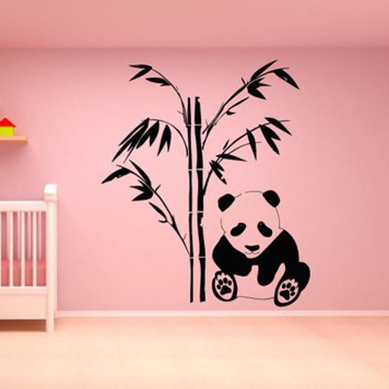 Наклейка на стену с пандой, медведь, семейный стикер, художественный декор, дизайн спальни, бамбук, художественная роспись для дома, спальни,...
