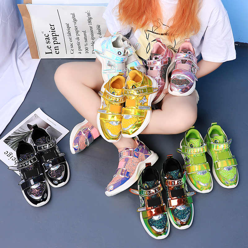 HZXINLIVE 2019 ผู้หญิง Chunky รองเท้าผ้าใบ Symphony Glitter สีสันสุภาพสตรี Vulcanized รองเท้า Bling ฤดูใบไม้ร่วงฤดูใบไม้ผลิรองเท้าผ้าใบรองเท้ารองเท้าสีขาว