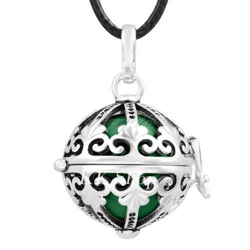 Беременность подарок для ребенка из черненого Медь в форме металлической птичьей клетки кулон ангел абонент Подвески 20 мм Музыкальный шар, гармония Bola кулон Цепочки и ожерелья H119 - Окраска металла: Dark green