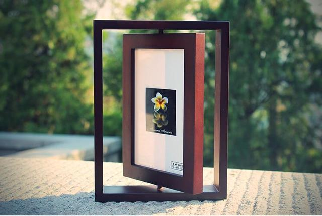 2016 European Catalpa Wood Rotating Picture Frame Two Sided 6 Inch