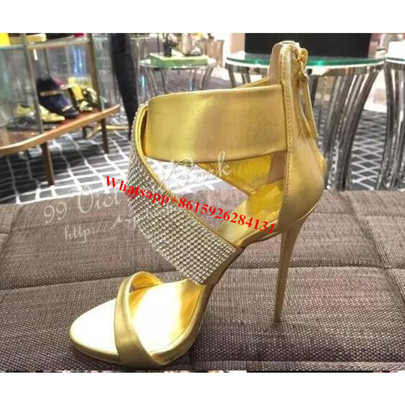 Da Degli Tempestato Donna Shown oro Sandali Toe Cristallo Di As nudo Scarpe Nero Sposa Pompe Talloni Gladiatore Shown as Alti Open Chic Annodato gaaYSqw