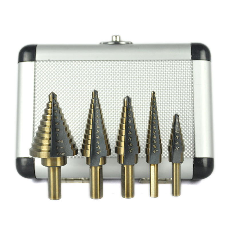 5PCS HSS Multiple Hole Cutter Step Drill Bit Set For Metal Woodworking High Speed Power Tools With Aluminum Case jelbo 5pcs set hss cobalt multiple power tools step drill bit power tools multiple hole step drill bit set tools set metal