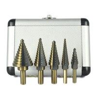 5 قطع hss متعددة ثقب القاطع الخطوة مثقاب المحددة ل أدوات النجارة المعدنية سرعة عالية الطاقة مع حالة الألومنيوم