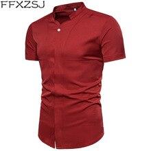FFXZSJ Mens Fashion Solid Short Sleeve Shirt   2018 Brand New Summer Male Single Breasted Casual Men Social Plus 3XL