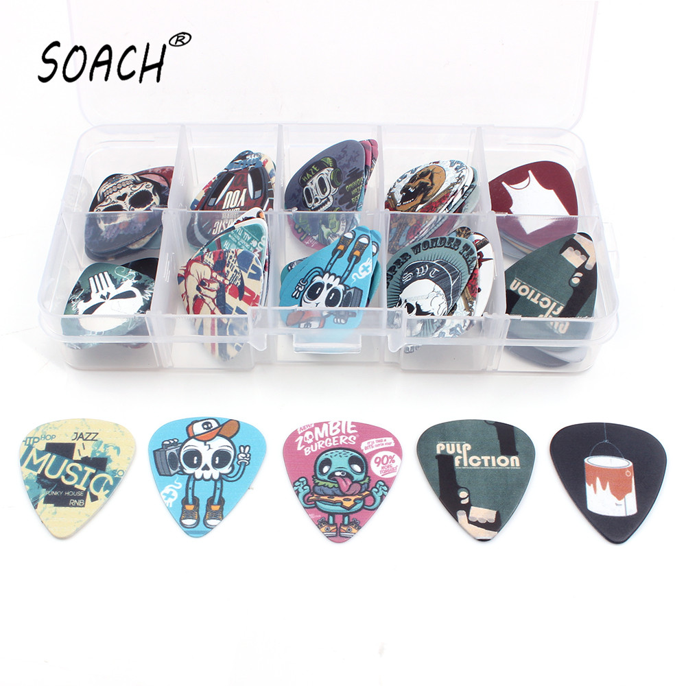 SOACH Banyak jenis 50pcs 10 grids Rock Band kartun Guitar Choice Mix Plectrums + Clear Makeup Draw Case Bead Box Earring DIY