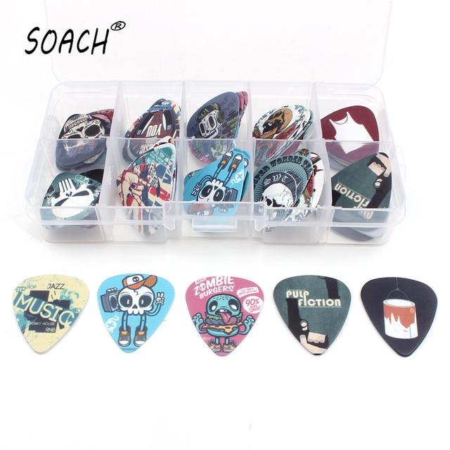 SOACH Um monte de tipos 50 pcs 10 grids Guitarra dos desenhos animados Da Banda de Rock pega Palhetas de Mistura + Limpar Caixa de Maquiagem Caso Empate Talão brincos DIY