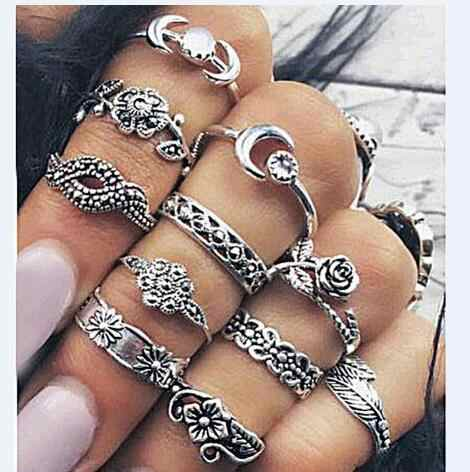 Retro Rose Leaves 11 Piece Set Carved Totem Ring Punk Rings for Women Metal Material Men Ring Men,party Jewelry Accessories