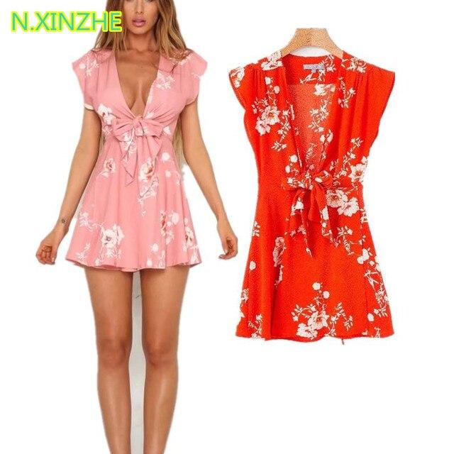 2018 Women Clothing Short Sleeve Deep V Neck Lace Up Print
