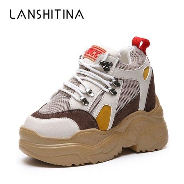 2018 модная женская повседневная обувь на платформе, сетчатая дышащая обувь на танкетке, осенние кроссовки на толстой подошве 10 см, увеличивающие рост