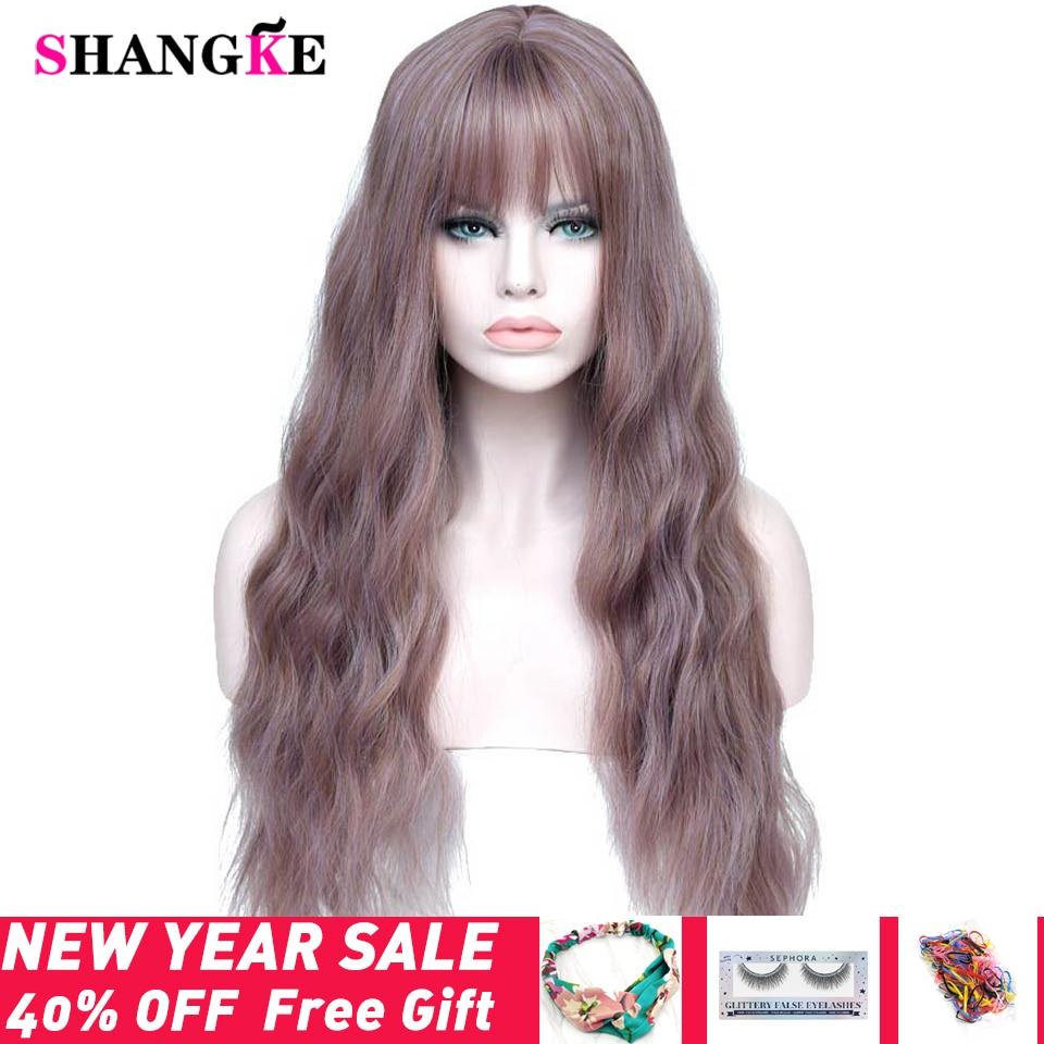 SHANGKE 26 de largo mezcla púrpura pelucas para mujer con flequillo resistente al calor sintético rizado pelucas para mujeres africano americano
