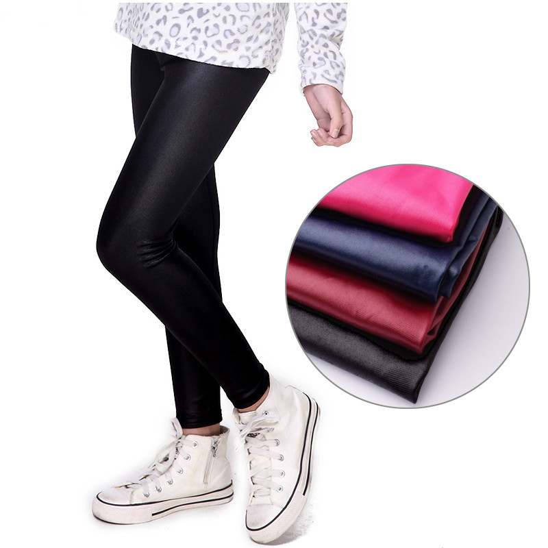 2019 Spring Faux PU Leather Leggings For Baby Girls Leggings Spring Autumn Thin Pants Children Trousers 5 Colors Leggins Kids