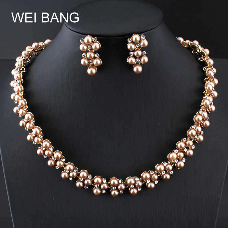 Fashion Women Jewelry Sets Pearl Gold color Earrings Necklace Set Rhinestone Gift Jewelry For Costume Accessories Shipping 2017