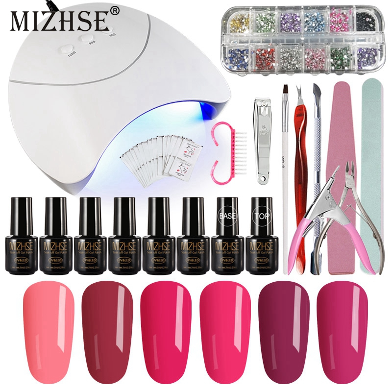MIZHSE Nail Tools Set DIY Nail Art Practice 36W UV Led Lamp Cure UV Gel Polish Soak Off 6 Colors Nail Gel Base Coat Top Coat longevita uv cure eco