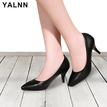 YALNN New Big Size Shoes Basic Fritid Retro Fashion Pointed Toe Kontor Karriere Grunt Sko Kvinner Pumps Høye Hæl Sko