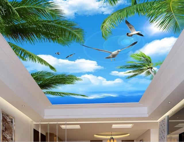Пользовательский 3d фрески потолка Лоза цветы обои для ванной