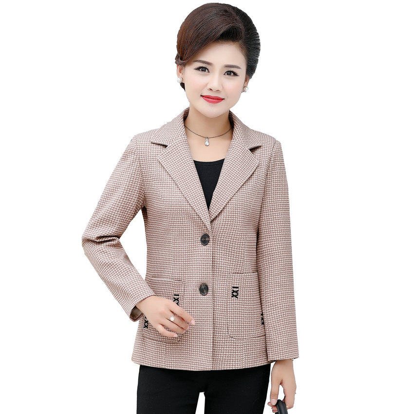 Small Plaid Pattern Blazer Middle Aged Woman Khaki Orange Gray Check Jackets Suits Women Elegant Blazers Mother Clothings 4XL XL