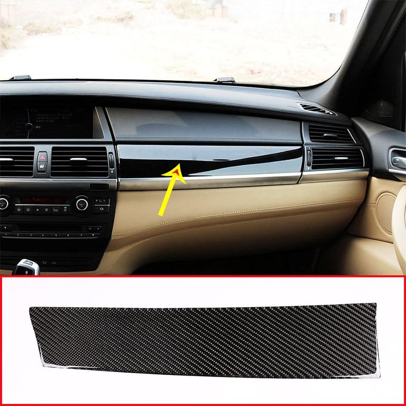 Véritable autocollant de couverture de panneau de tableau de bord de passager de voiture de Fiber de carbone pour BMW X5 E70 X6 E71 2008-2013 conduite à gauche