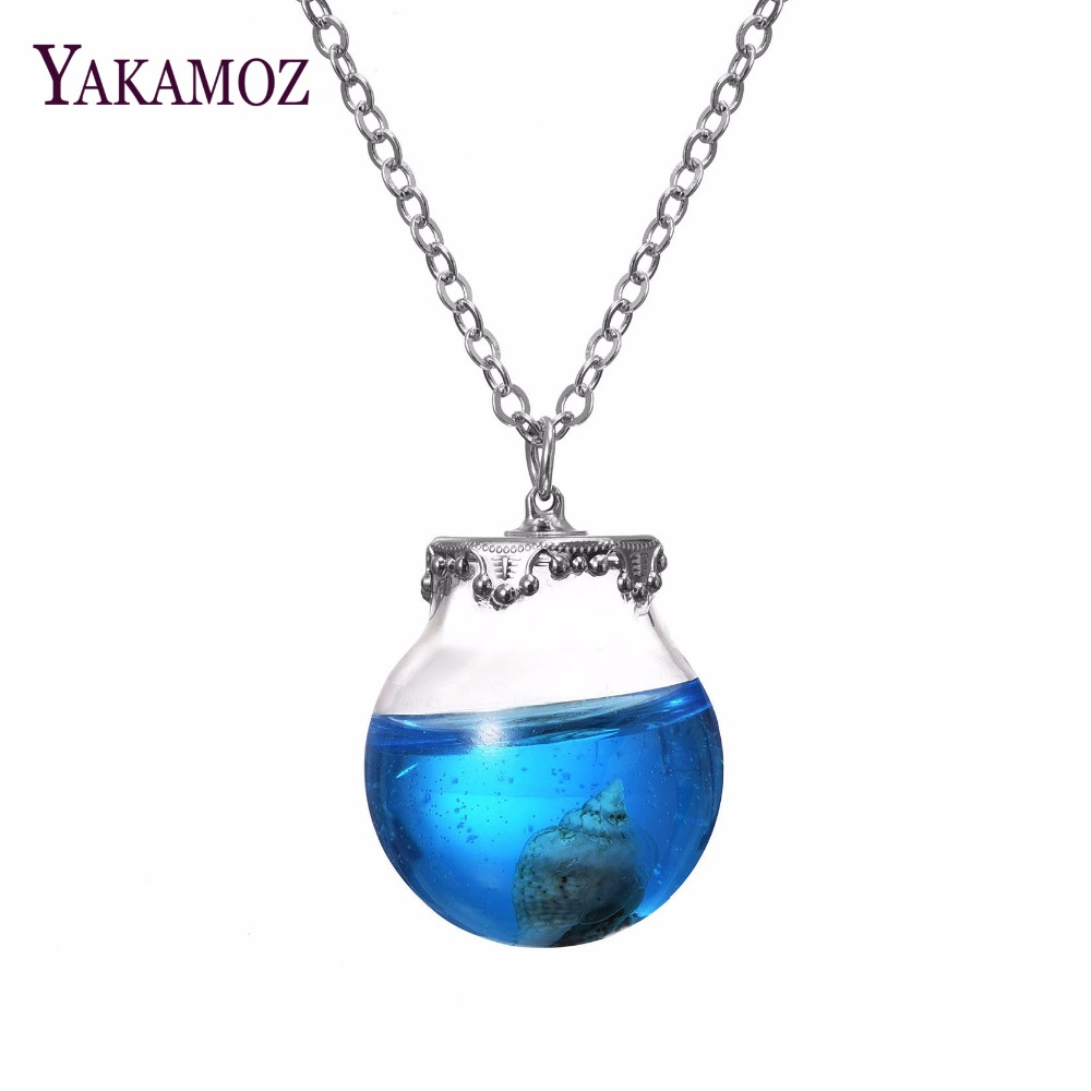 2017 Vintage Ocean Series Necklace Silver Plated with Shell Glass Wish Bottle Choker Pendant Neklace for Women Wedding