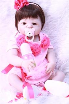 "Bebe silicone reborn dolls 22"" NPK brand realistic reborn babies victoria dolls for child gift bonecas"