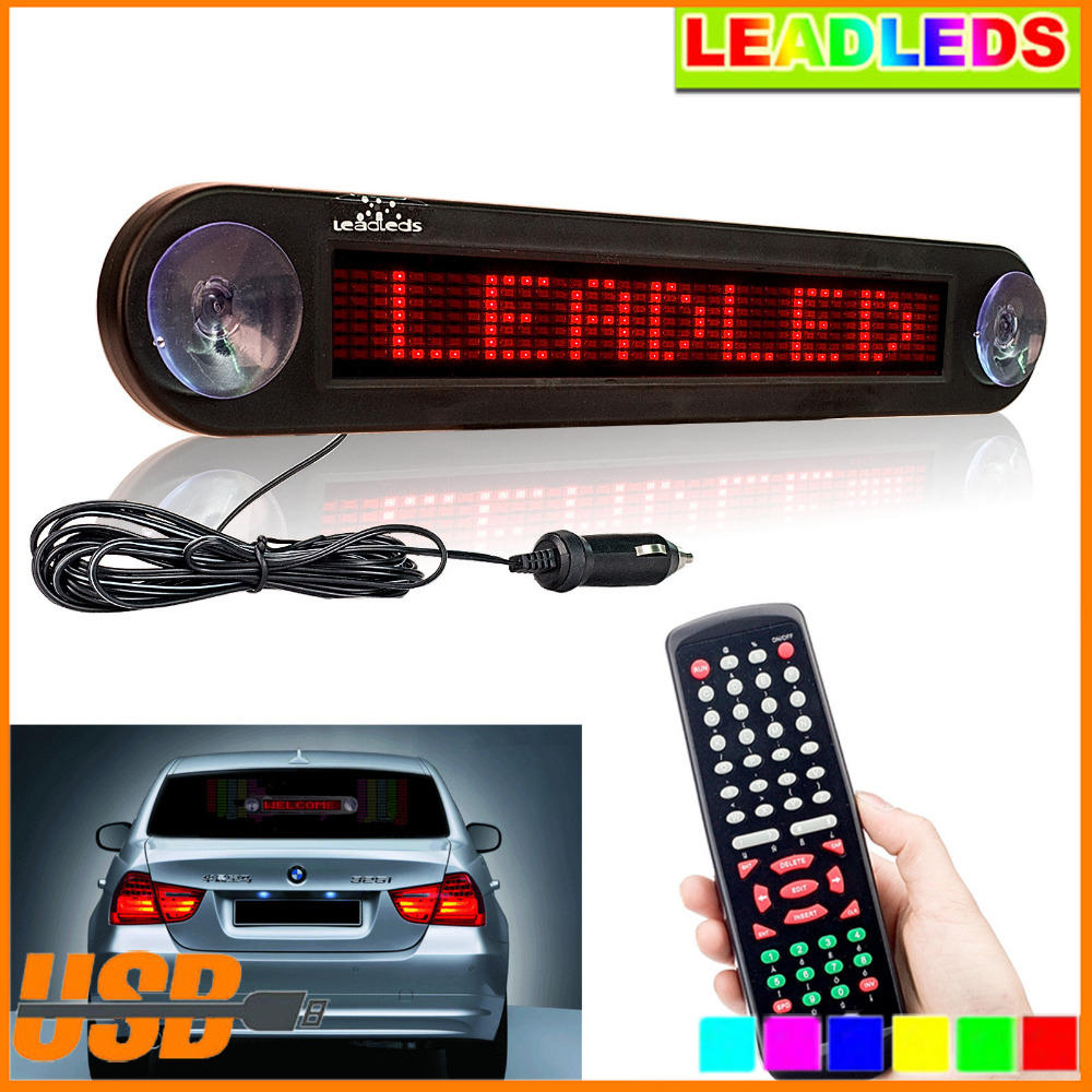 Car rear window Moving sign 12V 30cm Red Car Led Sign Remote Programmable Scrolling Advertising Message display board programmable led digital scrolling message name tag id badge 11 44 pixels