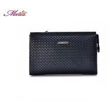 Knitting leather clutch men wallet men famous brand credit card knife designer large leather wallet billetera hombre purse