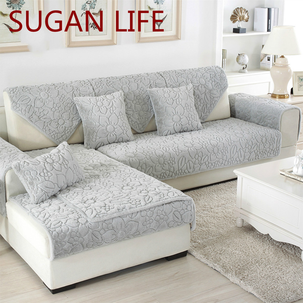 Excellent Us 11 44 10 Off White Grey Floral Quilted Sofa Cover Plush Long Fur Slipcovers Fundas De Sofa Sectional Couch Covers Fundas De Sofa S 269 In Sofa Gamerscity Chair Design For Home Gamerscityorg
